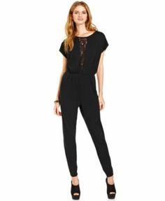 Teen Vogue Jumpsuit, S/S Lace Inset Jumpsuit