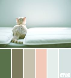 I would love a palette of the three colors on the left (green, green-gray-brown?, greige) plus coral (a little deeper and a little more orange/red than the fleshy pink in this palette). [another pinner wrote: Color palettes - Kleurenpaletten] Scheme Color, Paint Color Schemes, House Color Schemes, Colour Pallette, Color Combos, Pantone, Palette Design, Colours That Go Together, Color Harmony