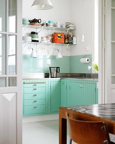 Aqua Kitchen Paint with Open Shelving Kitchen Turquoise Kitchen Cabinets, Teal Cabinets, Kitchen Cabinet Colors, Painting Kitchen Cabinets, Kitchen Colors, Colored Cabinets, Kitchen Shelves, Kitchen Backsplash, Kitchen Drawers