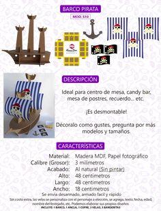 Base Stand Barco Pirata Para Cupcakes Mdf Al Natural - $ 160.00