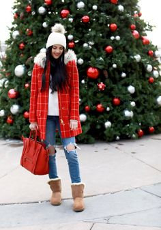 Red check winter coat