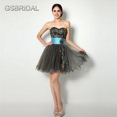 GSBRIDAL Sweetheart Waist Belt Feather Short Prom Dress