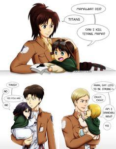 Cute Armin, Mikasa, Eren and Levi, Hanji, Erwin