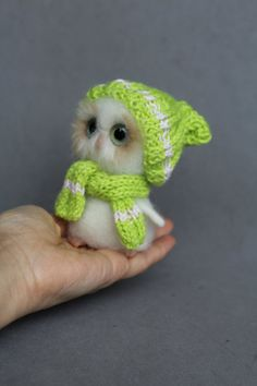 Ready to ship-4 Needle felted white ooak Owl whith by ArteAnRy
