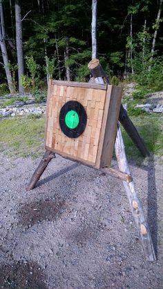 Tomahawk target made from scrap material. Once they get mangled in the frame, pop 'em out and tap in a few new ones. Works awesome and gets rid of my scraps.