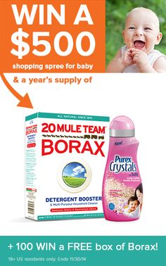 Who wants to WIN a $500 shopping spree for baby plus a year's supply of Purex Crystals and @20muleteamborax? Click image to enter sweepstakes!