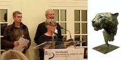 """Catherine Bauquier remerciant lors du vernissage du 40ème Salon National des Artistes Animaliers pour la création du prix Etienne AUDFRAY remporté par le sculpteur Bruno Cognée pour sa """"Tête de Panthère"""""""