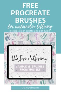 Free Procreate brushes for watercolor lettering on the iPad Watercolor Lettering, Brush Lettering, Watercolour, Cool Journals, Bullet Journal How To Start A, Branding, Ipad Art, Free Brushes, Computer Help