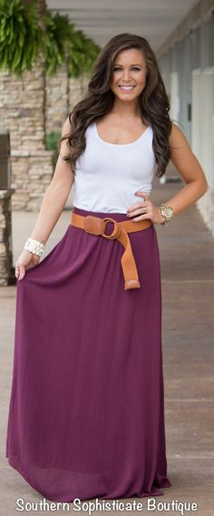 Belted Fall Maxi Skirt