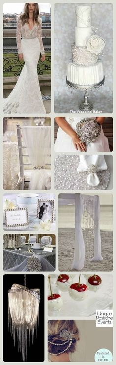 """This is an expensive wedding, but a lower budget could do pearl beads and rhinestones on white (instead of the """"real"""" ones) 