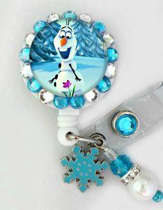 Frozen snowman ID badge reel by Badgetopia on Etsy, $11.00