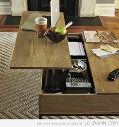 A coffee table with hidden storage space. Perfect for a small space.