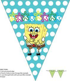 Spongebob Birthday Party - Free Printable Banner from Family Shoppingbag.com