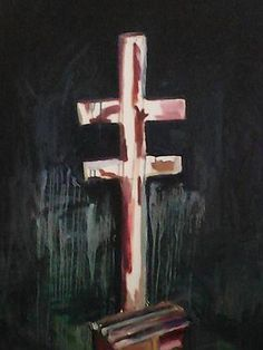 Myuran Sukumaran, painting of the cross and pole used in Indonesian executions.