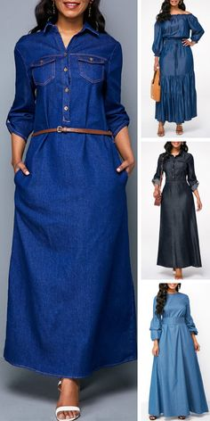 Upgrade your wardrobe and try new styles this year. Free shipping & 30 days easy return at Rosewe.com Jean Dress Outfits, Denim Maxi Dress, Maxi Dress With Sleeves, Jeans Dress, Trendy Dresses, Trendy Outfits, Casual Dresses, Fashion Dresses, Fashion Shoes