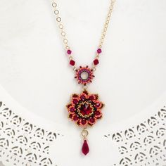 Red necklace, Gold long necklace, Long pendant necklace, Red flower necklace, Red crystal necklace, Red pendant necklace, Long gold necklace