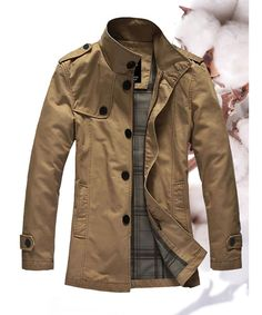 Khaki Single Breasted Green Business Casual Men Wind Coat