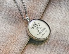 Items similar to Bible necklace quote jewelry bible quote necklace custom engraved keychain meaningful gift for him with god all things are possible on Etsy Hand Engraving, Custom Engraving, Gifts For Friends, Gifts For Him, Name Necklace, Pendant Necklace, Roman Numerals Dates, Silver Jewelry Cleaner, Jewelry Quotes