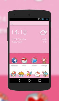 Kitty Theme, Android Theme, Cute Themes, Cute Icons, More Fun, Girly, Make It Yourself, Love, Wallpaper
