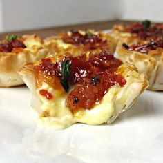Baked Brie and Bacon Jam Phyllo Cups - Cooking with Cakes