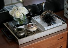 tray styling - gold silver tray chinois handles styling urchin peonies