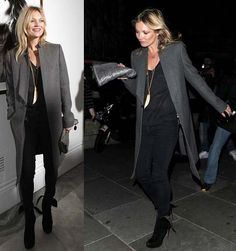 la modella mafia Kate Moss 2014 street style in a gray coat with Alaia booties