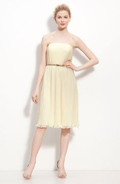Donna Morgan Belted Pleated Chiffon Dress | Nordstrom