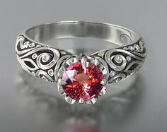 BEATRICE 14K gold engagement ring with 1.48ct Pink Sapphire