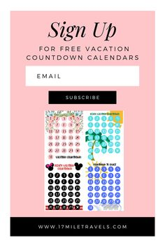 Sign up for a FREE countown calendars sent straight to your inbox!! Vacation planning calendars for kids. Disney countdown calendar, cruise countdown calendar, beach vacation countdown calendar and generic countdown calendar Vacation Countdown, Disney Countdown, Countdown Calendar, Kids Calendar, Best Disneyland Food, Planning Calendar, International Travel Tips, Free Vacations, Family Destinations