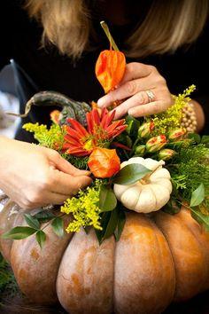11 Stunning Fall Floral Arrangements with Pumpkins & Gourds Pumpkin Vase Floral Arrangement Pumpkin Vase, Pumpkin Flower, Pumpkin Centerpieces, Thanksgiving Centerpieces, Diy Thanksgiving, Diy Pumpkin, Thanksgiving Celebration, Mini Pumpkins, Thanksgiving Appetizers