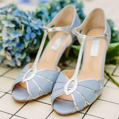 Vintage inspired Bridal Shoe in powder blue