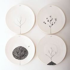Photo VtWonen   Pick your favourite shape plates from opshop and  paint them with free hand /stencils or simply write just a word in each;...