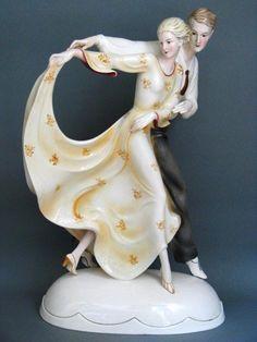 Katzhütte 52 cm Tanzendes Paar Figur Figure Figurine um 1925 (Sofort-Kauf / Preisvorschlag 1899,-€) Katzhutte