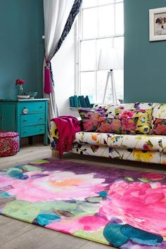 This hand-painted canvas rug would be perfect for the Secret Girly Chamber.