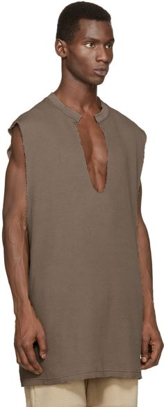 YEEZY Season 1 Taupe Waffle Cotton Thermal Tank Top
