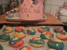 Sour cream sugar cookie swirls with tiny pink heart sprinkles. n birthday