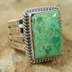 Authentic Sterling Silver Ajax Turquoise Navajo Jewelry Ring www.nativeamericanjewelry.com