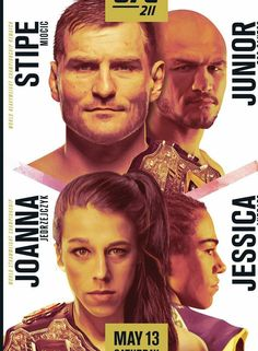 Official promotional poster for: Event: UFC 211 Miocic vs Dos Santos, Jeorzejczyk vs Andrade Size: Notes: Original print made before the fight. Boxing Live, Ufc Boxing, Ufc Fight Card, Ufc 196, Female Mma Fighters, Stipe Miocic, Mixed Martial Arts, Poster