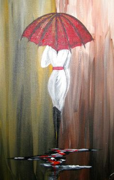 """"""" Walk in the Rain"""" by Cinnamon Cooney. Its a fun little jaunt in the world of Personal Painting Parties! Girl with a red Umbrella"""