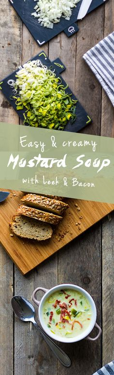 Quick and Creamy Dutch Mustard Soup ~ with Leek & Bacon | www.haveanotherbite.com | #recipe #soup #mustard