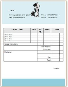 22 Best Carpet Cleaning Invoice Template Images Invoice