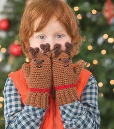 Crochet Reindeer Mittens- free pattern