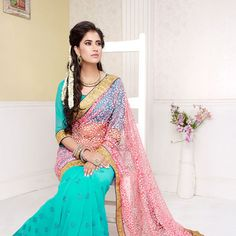 Pink and Aqua Net Brasso and Faux Georgette Saree with Blouse