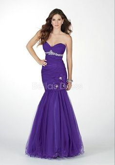 Pretty Spring Mermaid Sweetheart Tulle Prom Gown With Flowers