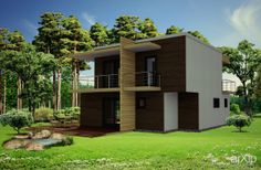 Dом AMERICA: архитектура, зd визуализация, 2 эт | 6м, жилье, модернизм, 100 - 200 м2, фасад - штукатурка, каркас - дерево, коттедж, особняк, архитектура #architecture #3dvisualization #2fl_6m #housing #modernism #100_200m2 #facade_plaster #frame_wood #cottage #mansion #architecture