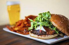 Fresno fig burger, sweet potato fries, & beer.
