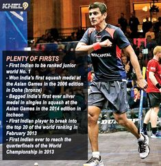 Saurav Ghosal is the first Indian male squash player to break into the top 10 of the world rankings Football Score, Football Players, Barcelona Vs Real Madrid, Football Results, Indian Male, Soccer Predictions, Asian Games, Cricket Sport, Tips Online