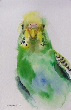 "Daily Paintworks - ""budgie5"" - Original Fine Art for Sale - © Katya Minkina #watercolor jd"