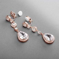 ccb368b5e64b Mariell s Gorgeous Rose Gold Plated Clip-On CZ Bridal Earrings - Round-Cut  Halos and Gleaming Teardrops