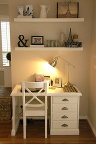 Small office--white Ikea shelves, paint desk...if I were my desk I would be scared. I just looked at it and thought, You need to be white!